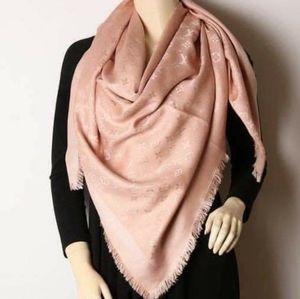 Auth Louis Vuitton Shine Monogram Shawl Pink New